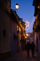 IMG_8651 (Bartek Rozanski) Tags: alsace blue christmas city cobblestone colmar decoration evening france lamp person star street vosges winter