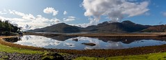 Calm waters(pano) (Phil-Gregory) Tags: glenelg2019 sigma18250macro nikon d7200 water waterscape mirrorimage mirror reflection boat sky isleofskye mountains highlands scotland