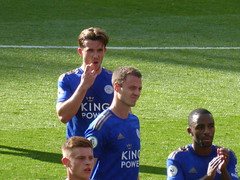 Leicester players post match (lcfcian1) Tags: manchester united leicester city mufc lcfc old trafford stadia stadium ground footy epl bpl premier league manchesterunited leicestercity oldtrafford premierleague benchilwell jonnyevans ricardo