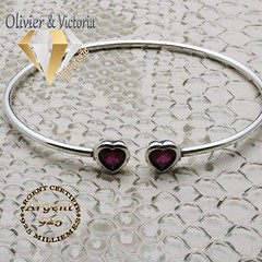 Bracelet jonc deux coeurs magenta en argent 925 (olivier_victoria) Tags: argent 925 bracelet coeur ajustable cercle jonc magenta