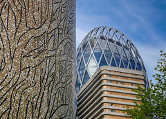 Compare and contrast (Adaptabilly) Tags: france pattern building ladéfense lumixgx7 clouds macro paris travel tree decoration architecture closeup sign mosaic sky structure