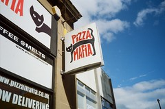 Pizza Mafia (bigalid) Tags: film 35mm olympus af10 super kodak proimage100 june 2019 stirling sign
