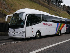 Fairline Coaches of Glasgow Scania K410EB4 Irizar i6 F11LNE, new as YN17ONX, in Trafalgar Tours livery, at Johnston Terrace, Edinburgh, on 10 September 2019. (Robin Dickson 1) Tags: busesedinburgh westcoastmotors craigofcampbeltown fairlinecoaches yn17onx f11lne irizari6 scaniak410eb4 trafalgartours