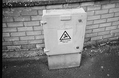 Danger of Death Box (bigalid) Tags: film 35mm olympus af10 super ilford xp2 june 2019 bw dumfries sign