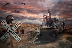 Railroad (brian_stoddart) Tags: composite train vulture desert car buildings