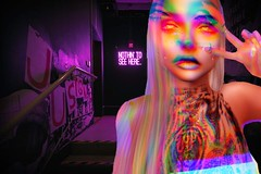 Photo Lore (Lore_lies) Tags: girl female neon purple secondlife sl peace club tattoo tan nails colors blond makeup fashion style cool party rave dance awesome