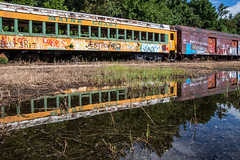 Maine Coast Reflection (Oleg S .) Tags: usa abandoned train newjersey graffiti reflection railroad