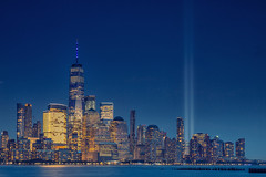 Tribute in Light (vandan desai) Tags: nyc newyork by tributeinlight sunset landscape evening cityscape hudsonriver bluehour manhattan empirestate
