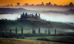 Sunrise in Val d'Orcia (gregor158) Tags: italy tuscany mist sunrise cypress trees clouds landscape farmhouse belvedere unesco world heritage site hills morning