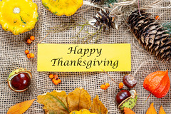Congratulatory background for thanksgiving on the background of burlap (wuestenigel) Tags: autumn dry detail red yellow season nature concept leaf thanksgiving squash space background holiday texture fall leaves plant old celebration blank backdrop autumnal rowan berries chestnut burlap halloween frame happy tag