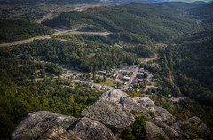 Overlooking Cumberland Gap, TN (donnieking1811) Tags: tennessee cumberlandgap cumberlandgapnationalhistoricalpark kentucky virginia overlook town highways rocks boulders hills trees nationalpark buildings houses cars hdr canon 60d lightroom photomatixpro