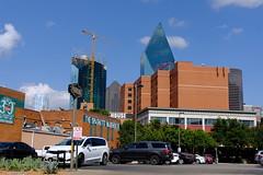Dallas Scenes 15 09.21.19(1) (Gene Ellison) Tags: city dallas texas buildings glass steel brick reflections cityscape street photography sky clouds fujifilm velvia sooc