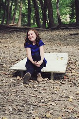 Addison in the Forest (jada_gaskill) Tags: smile trees pose leaves girl