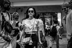 Tokyo 2019 (burnt dirt) Tags: shibuya tokyo japan asia japanese asian candid documentary street photography downtown metro urban city scramble crossing outdoor people person fujifilm xt3 fujinon 50mm f2 bw blackandwhite monotone monochrome woman girl smile laugh train station style fashion life real crowd tourist nippon emotion expression portrait close sunglasses stare eye contact
