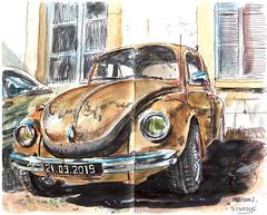 Coccinelle (sylvain.cnudde) Tags: volkswagen beetle cocc coccinelle croquis sketch car voiture vehicle vehicule dessin drawing usk urbansketch urbansketcher urbansketching urbansketchers aquarelle watercolor stylobille