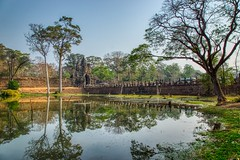 Causeway into the ancient city of Angkor Thom surrounded by moat near Siem Reap, Cambodia (UweBKK (α 77 on )) Tags: angkor archaeological park archaeology history historical historic ancient culture cultural heritage siemreap siem reap cambodia southeast asia sony alpha 77 slt dslr causeway moat angkorthom thom water reflection tree stone wall