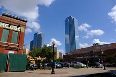 Dallas Scenes 13 09.21.19(1) (Gene Ellison) Tags: city dallas texas buildings glass steel brick reflections cityscape street photography sky clouds fujifilm velvia sooc