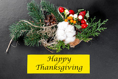 Autumn background with happy Thanksgiving inscription. The concept of gratitude and family autumn holiday (wuestenigel) Tags: inscription autumn dry rosehip season nature concept leaf thanksgiving space background red leaves plant detail autumnal blank backdrop berries fall rowan black pinecone tag yellow spruce branch