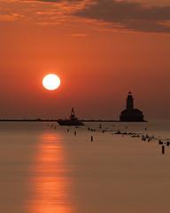 Side Light (mark-marshall) Tags: chicago lakemichigan skyporn lighthouse sunrise hcs cliche