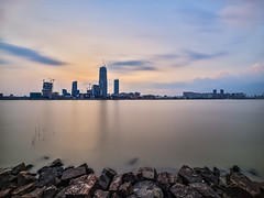P0001026 Shanghai South Waterfront Promenade Pudong Sunset - 07-Sep-2019 (f/13 photography) Tags: shanghai pudong bund waterfront promenade walkway footpath cyclepath bridge huangpu river phase one phaseone iq4 iq4150 150mp 150mpx alpa 12max max technical camera digital back medium format rodenstock wide angle sunrise long exposure clouds typhoon weather houtan park rocks