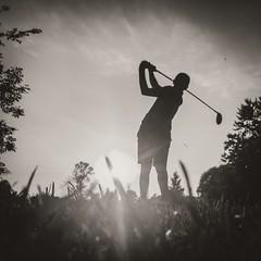 Enjoying the final rays of the day (_Matt_T_) Tags: bw golf fatherandson getoutside feelthelove iphoneography swing dailyinseptember