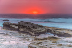 Moody Sunrise Rocky Seascape (Merrillie) Tags: daybreak landscape theskillion waves nature dawn terrigal waterscape overcast water weather newsouthwales clouds earlymorning nsw sunrise sky ocean morning sea rocky coastal rocks outdoors seascape coast centralcoast cloudy australia