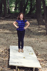 Addison in the Forest (jada_gaskill) Tags: forest trees leaves happy strong girl