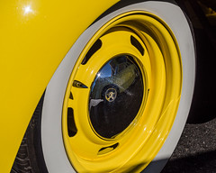 Yellow Wheel (channel locks) Tags: parkstreet california mzuiko1240mmf28 alameda carshow olympusem5 reflection hotrod whitewall tire fender car v8 1935plymouth