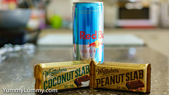 Sugar-free Red Bull, Reanut slab, and Coconut slab (garydlum) Tags: chocolate redbull canberra australiancapitalterritory australia