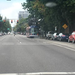 Catching up to a trolley on Grand Ave (Tysasi) Tags: trolley traction portlandstreetcar
