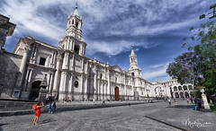 The cathedral (marko.erman) Tags: latinamerica southamerica plazadearmas wideangle arequipa cathedral peru monumental church towers uwa perspective white sillar volcanicrock massive famous beautiful architecture sunny morning sony outside outdoor travel