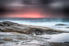 Dark and Moody Rocky Seascape (Merrillie) Tags: daybreak theskillion rocky morning nature water terrigal sea overcast waterscape weather newsouthwales rocks earlymorning nsw coast landscape ocean dawn cloudy sunrise coastal clouds outdoors seascape australia centralcoast waves sky