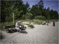 A day at the beach (Luc V. de Zeeuw) Tags: people man beach bench sand wheelchair latvia ģipka rojasnovads