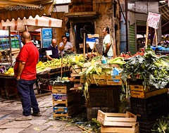 The market traders (stewardsonjp1) Tags: italy men vegetables market streetphotography stall streetscene sicily laughter palermo traders street noise
