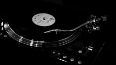 Spinning on the records (Pan.Ioan) Tags: blackandwhite music monochrome closeup technology arts culture equipment indoors electronics record electrical audio above high angle turntable retro spinning gramophone