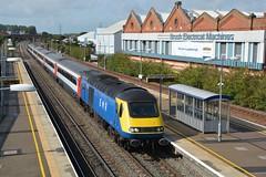 "East Midlands Railway Class 43, 43480 ""West Hampstead PSB"" (37190 ""Dalzell"") Tags: emr eastmidlandsrailway emt eastmidlandstrains stagecoach lightblue brelcrewe hst highspeedtrain intercity125 bufferfitted hstdvt surrogatedrivingvantrailer class43 class434 43480 westhampsteadpsb 43080 loughborough"