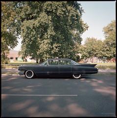 Cadillac (1960's?) (Konrad Winkler) Tags: berlin treptow strase park oldtimer auto hasselblad503cx kodakportra160 mittelformat 6x6 epsonv800 carlzeissdistagon3560t
