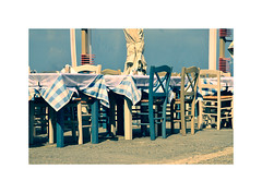 Menu please ! (CJS*64) Tags: cjs64 craigsunter cjs crossprocessing whiteborder greece travel travelling travelphotography crete tables chairs seats sit eat restaurant nikon d7000 nikkor