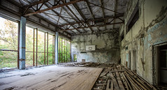 The Gym at Pripyat School - 11/09/2019 (kevaruka) Tags: chernobyl exclusion zone 911 pripyat dodgems bumper cars bw nuclear disaster urban photography black white ga mask canon eos 5d mk3 ef 1635 f28 mk2 wide angle uwa ultra ukraine 5d3 5diii doll gas dof depth people photoadd television flickr front page kevin frost composition colour colours color colors contrast school september 2019 11092019 indoor kiev ferris wheel fair amusement park fun tram corridor sun sunshine sunny day duga radar