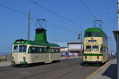 Blackpool Transport Brush 631 & Balloon 723 (Will Swain) Tags: blackpool during bank holiday gold running day 25tth august 2019 tram trams light rail railway rails transport travel europe transportation city lancashire coast balloon 723 brush 631