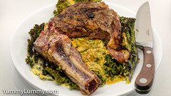 Sous vide rib steak bone in deckle cap and creamy cheesy kale (garydlum) Tags: beef butter cheese cooncheese cream creamcheese kale steak canberra australiancapitalterritory australia