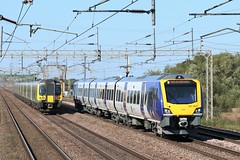 Northern Class 331 331004 and LNWR Class 350 350260 (Adam Fox - Plane and Rail photography) Tags: west coast main line mainline wcml bridge farm crewe train trains uk br british rail railways railway railroad tracks emu electric multiple unit london north western desiro civity 5z08 1424 liverpool south parkway test run