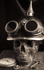 Dr Miasma is no more 01 sep 19 (Shaun the grime lover) Tags: monochrome steampunk tabletop watch key pickelhaube helmet goggles skull costume book