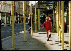 LEEDS STREET PHOTOGRAPHY (Tyrone Fleming) Tags: carlzeiss50mmlens cinestill50film colorfilm f6nikon filmphotography gwtphotography ilovefilm ishootfilm leeds leedscitycentre leedsstreetphotography nikonf6 people shotonfilm street streetphotography tyronefleming scaffolding buildings