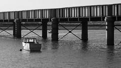 Adur Rail Bridge Shoreham-F9210494 (tony.rummery) Tags: adur blackandwhite boat bridge em5mkii mft microfourthirds omd olympus riverside sea shoreham sussex shorehambysea england unitedkingdom