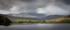 Wales (paullangton) Tags: wales snowdonia clouds long exposure mountain llyn mymbyr green landscape trees lake farm water outside view snowndon mist fields lee