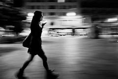 Walk (TransientEye) Tags: barcelona blackandwhite film filmphotography leica leicam7 28mmf2summicronf2asphii 400tx xtol ei1600 pushprocessing pushprocessed night streetphotography