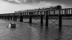 Class 377 on Adur Rail Bridge Shoreham-F9210495 (tony.rummery) Tags: adur blackandwhite boat bridge class377 em5mkii emu mft microfourthirds omd olympus railroad railway riverside sea shoreham sussex shorehambysea england unitedkingdom