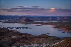Sunset over Lake Powell and Wahweap Marina near Page, Arizona (diana_robinson) Tags: sunset lakepowell wahweapmarina reservoir vacationspot glencanyon landscape coloradoriver clouds water page arizona