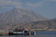 From the Mountain to the Lake (atayng1979) Tags: landscape lake anatolia anadolu turkey türkiye van akdamar island mountain boat vangölü